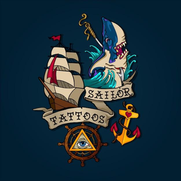 Ensemble de tatouage marin Vecteur Premium