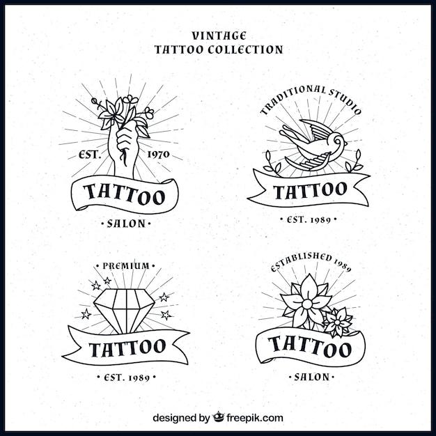 Ensemble de tatouages dessinés à la main logos Vecteur gratuit