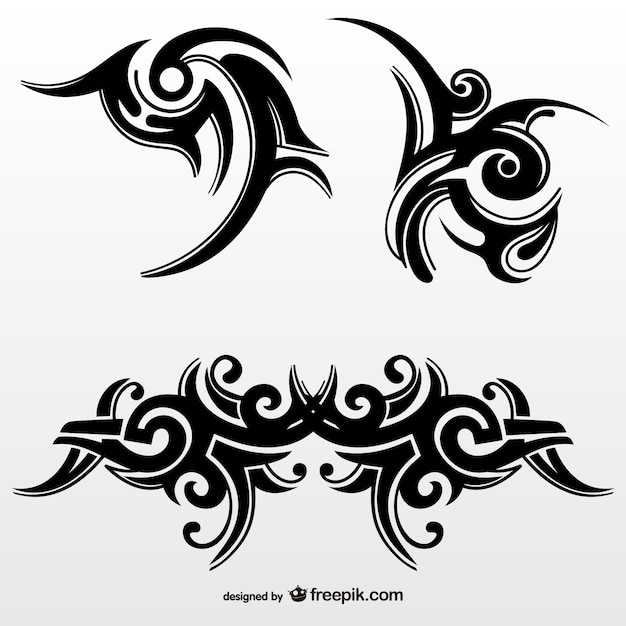 Ensemble de tatouages tribaux abstraits Vecteur gratuit