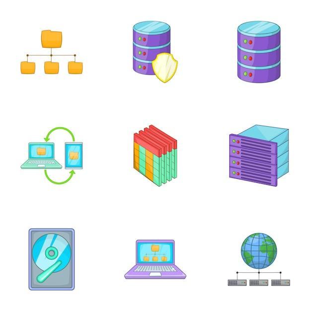 Ensemble de technologie d'hébergement internet Vecteur Premium
