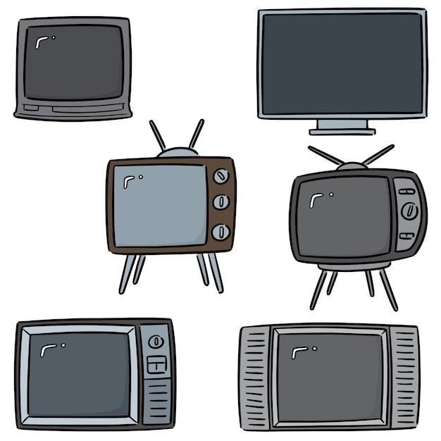 Ensemble de télévision Vecteur Premium
