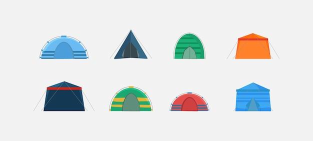 Ensemble De Tentes Isolé Sur Fond Blanc Et Montré Sous Différents Angles. Tentes Multicolores Pour Camper Dans La Nature Et Pour Les Célébrations En Plein Air. Vecteur Premium