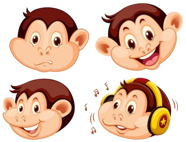 Ensemble de tête de dessin animé de singe Vecteur gratuit