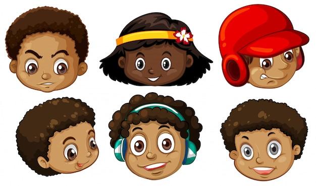 Ensemble de têtes afro-américaines Vecteur gratuit