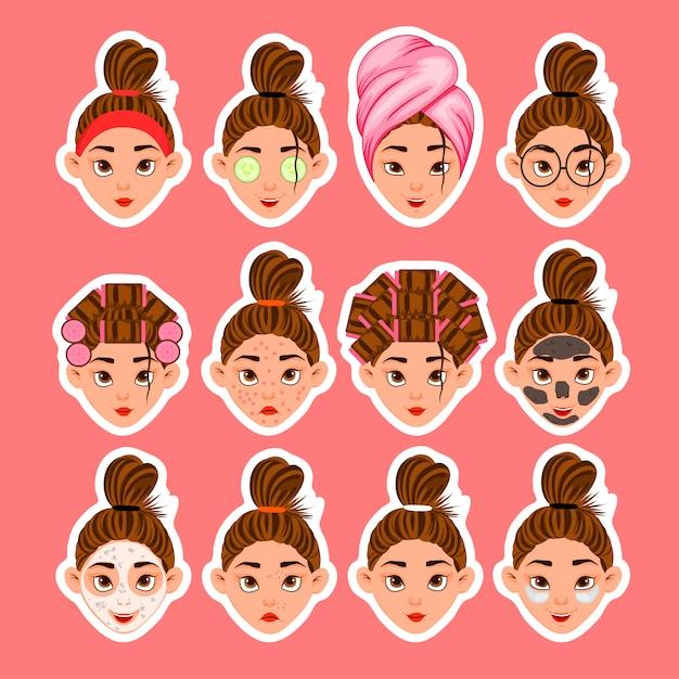 Ensemble de têtes de femmes et de soins de beauté Vecteur Premium