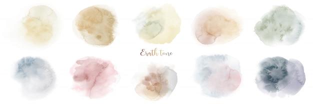 Ensemble De Texture Aquarelle Mixte Terre Ton Peint à La Main Vecteur Premium