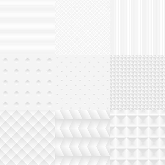 Ensemble De Textures Blanches Vectorielle Simple Sans Soudure Vecteur gratuit