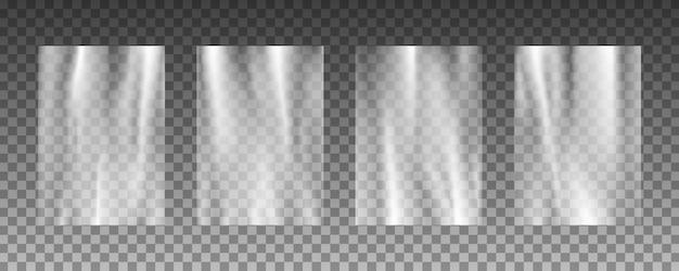Ensemble De Textures De Fond De Chaîne En Plastique Transparent. Vecteur Premium