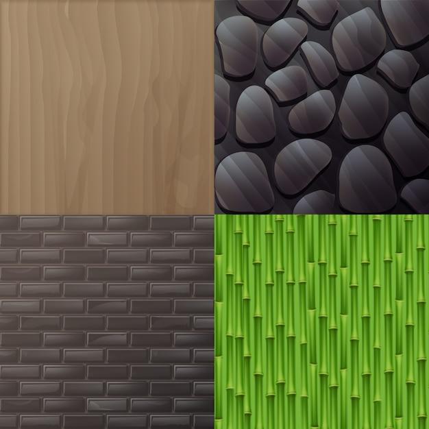 Ensemble De Textures Pour L'intérieur Dans Un Style éco Minimaliste: Bois, Mur De Briques Grises, Bambou Vert Et Mur De Pierre Vecteur gratuit