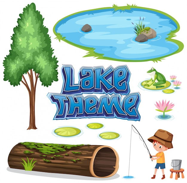 Ensemble de thème du lac Vecteur Premium