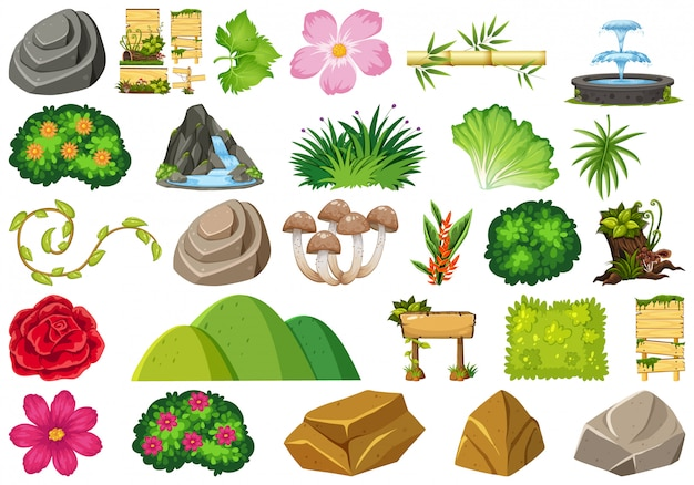 Ensemble De Thème D'objets Isolés - Jardinage Vecteur Premium