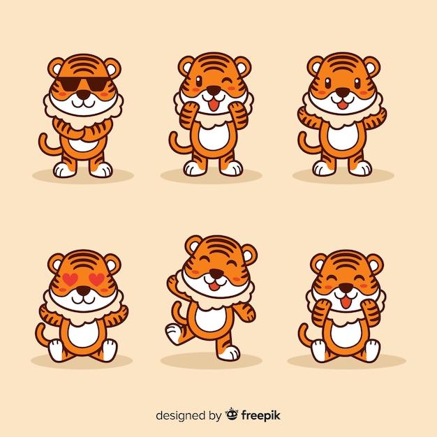 Ensemble de tigre mignon Vecteur gratuit