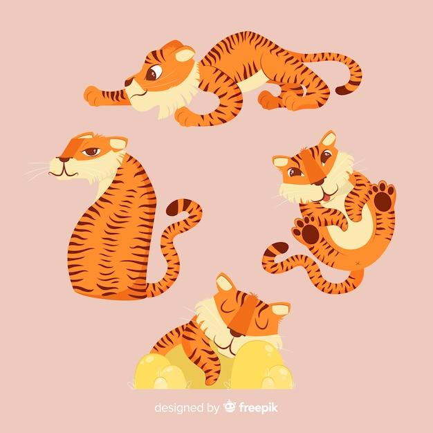 Ensemble de tigres en style cartoon dans différentes positions Vecteur gratuit