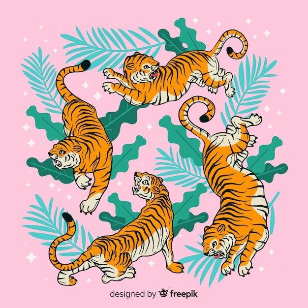 Ensemble De Tigres En Style Cartoon Dans Différentes Positions Vecteur Premium