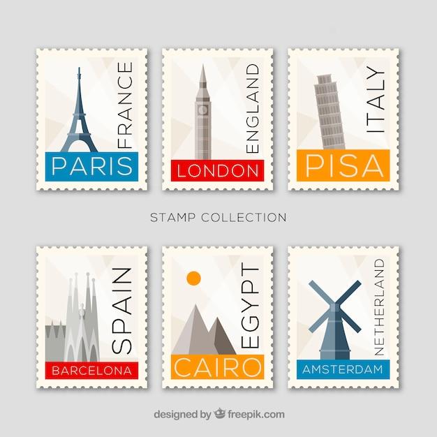 Ensemble de timbres emblématiques avec les villes et monuments Vecteur gratuit