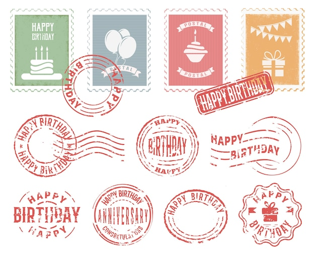 Ensemble De Timbres Postaux Colorés D'anniversaire Vecteur gratuit