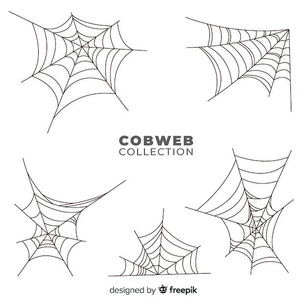 Ensemble de toile d'araignée d'halloween Vecteur gratuit