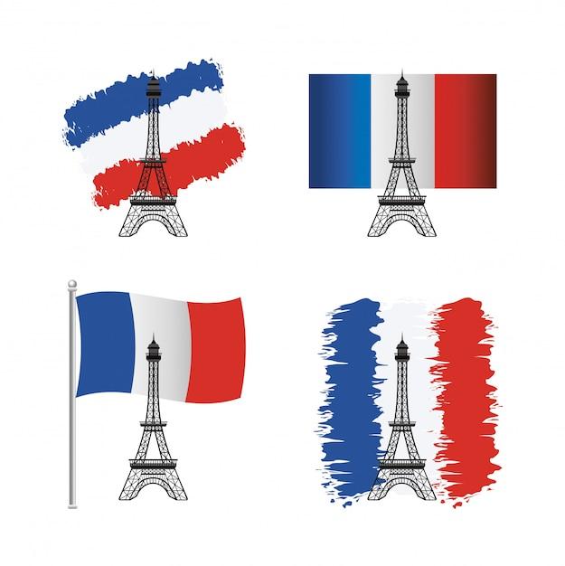 Ensemble de la tour eiffel avec le drapeau de la france Vecteur gratuit