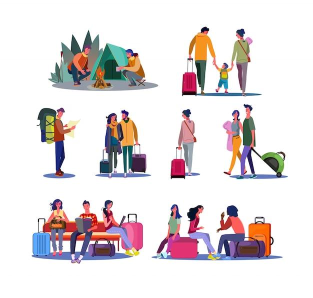 Ensemble Tourisme Et Voyage Vecteur gratuit