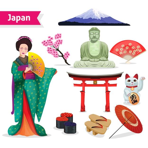 Ensemble touristique au japon Vecteur gratuit