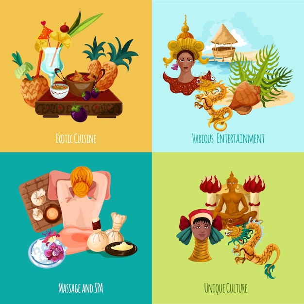 Ensemble touristique en thaïlande Vecteur gratuit