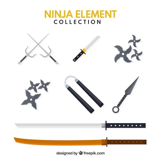 Ensemble traditionnel d'éléments ninja avec un design plat Vecteur gratuit