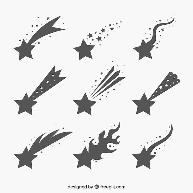 Ensemble de traînées d'étoiles grises Vecteur gratuit