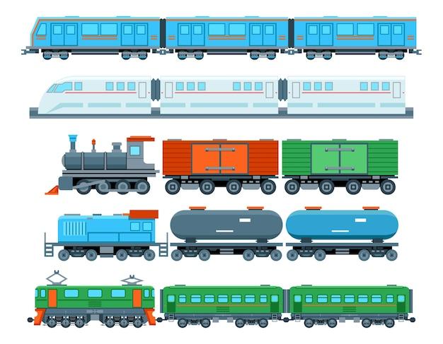 Ensemble De Trains De Chemin De Fer Dans Un Style Plat. Transport Métro, Voyage Et Véhicule Vecteur gratuit