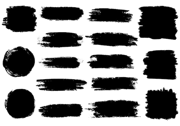 Ensemble De Traits De Pinceau Collection D'éléments Graphiques Dessinés à La Main Au Pinceau. Fond Grunge. Vecteur Premium
