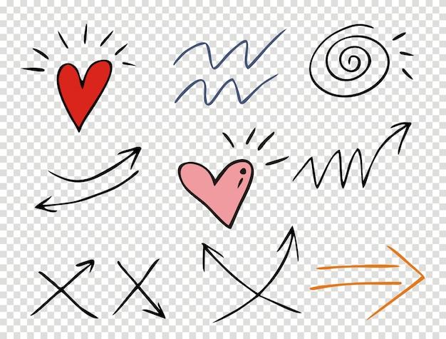 Ensemble de traits soulignés dans le style doodle, diverses formes Vecteur Premium