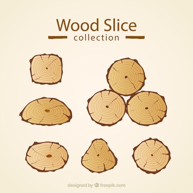 Ensemble de tranches de bois Vecteur gratuit