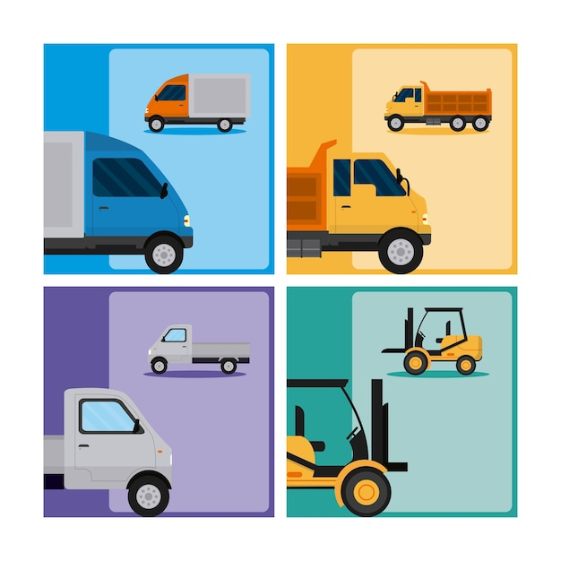 Ensemble de tranport véhicules collection vector illustration graphisme Vecteur Premium