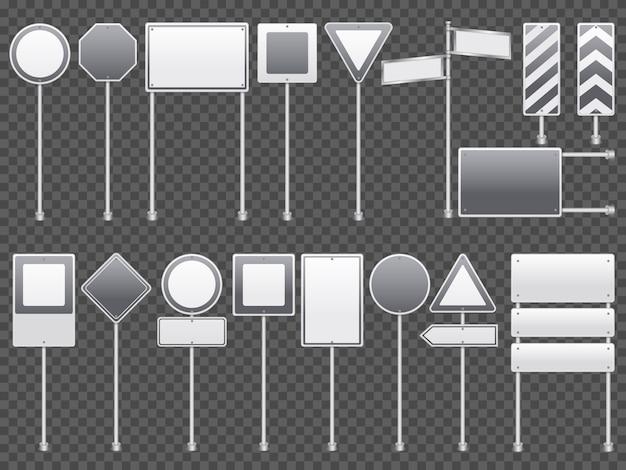 Ensemble Transparent De Panneaux De Signalisation Réaliste Vecteur gratuit