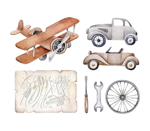 Ensemble De Transport Rétro.voiture Vintage, Avion, Carte, Roue, Outils Vecteur Premium