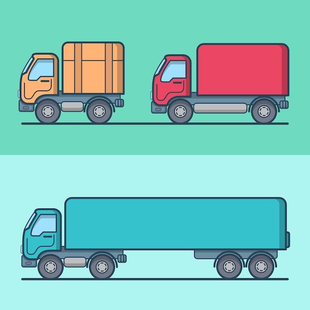 Ensemble De Transport Routier De Camion Van. Icônes De Contour De Trait Linéaire. Collection D'icônes De Couleur Décrite. Vecteur gratuit
