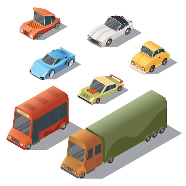 Ensemble de transport urbain isométrique. voitures avec des ombres isolés sur fond blanc Vecteur gratuit