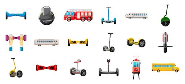 Ensemble de transport de la ville. jeu de dessin de transport en ville Vecteur Premium
