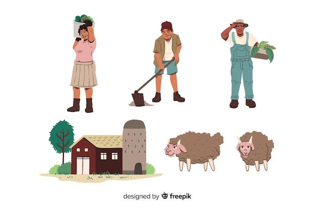 Ensemble de travailleurs agricoles illustrés Vecteur gratuit