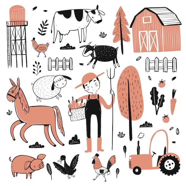 Ensemble De Travailleurs Agricoles Vecteur Premium