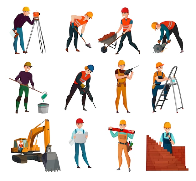 Ensemble De Travailleurs De La Construction Vecteur gratuit