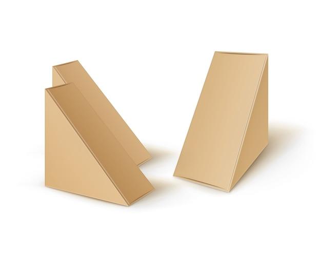 Ensemble De Triangle En Carton Blanc Brun à Emporter Boîtes D'emballage Pour Sandwich Vecteur Premium