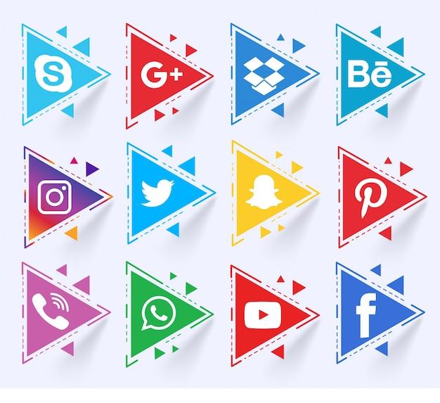 Ensemble triangulaire des médias sociaux Vecteur gratuit