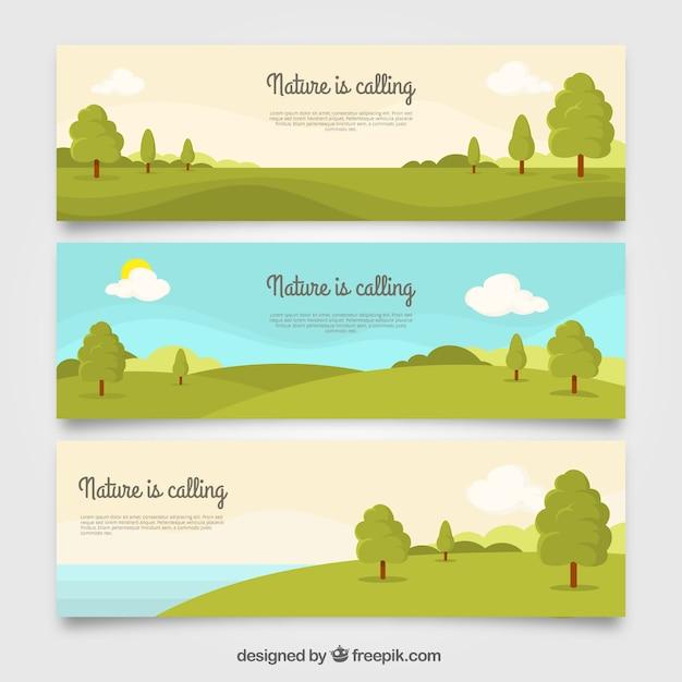 Ensemble de trois bannières de paysage avec des arbres Vecteur gratuit
