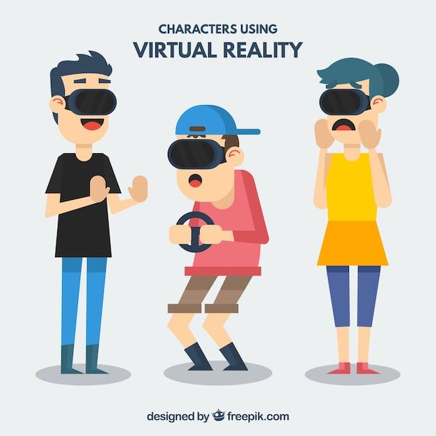 Ensemble de trois personnages avec des lunettes virtuelles en design plat Vecteur gratuit