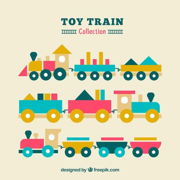 Ensemble de trois trains à jouets plats Vecteur gratuit