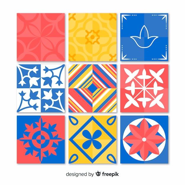 Ensemble de tuiles colorées créatives Vecteur gratuit