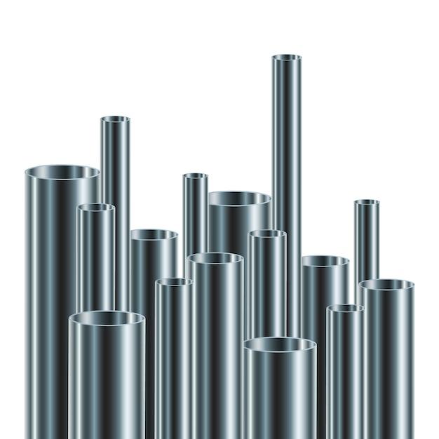 Ensemble De Tuyaux En Acier Ou En Aluminium,. Illustration. Tubes Brillants De Différents Diamètres. Vecteur Premium