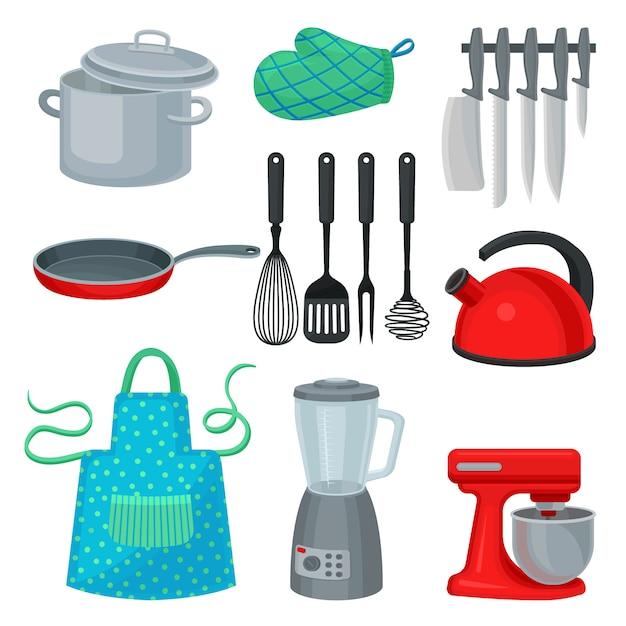 Ensemble D'ustensiles De Cuisine, Appareil électrique Moderne Et Vêtement De Protection. Ustensiles De Cuisine. Thème De La Cuisine Vecteur Premium