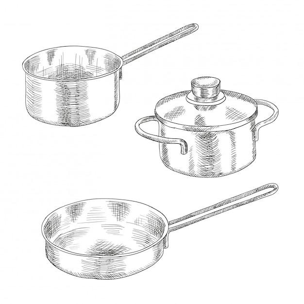 Ensemble D'ustensiles De Cuisine Pour Cuisiner. Vecteur Premium