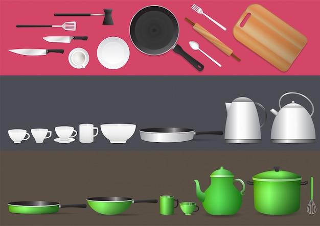 Ensemble D'ustensiles De Cuisine Réalistes. Vecteur Premium